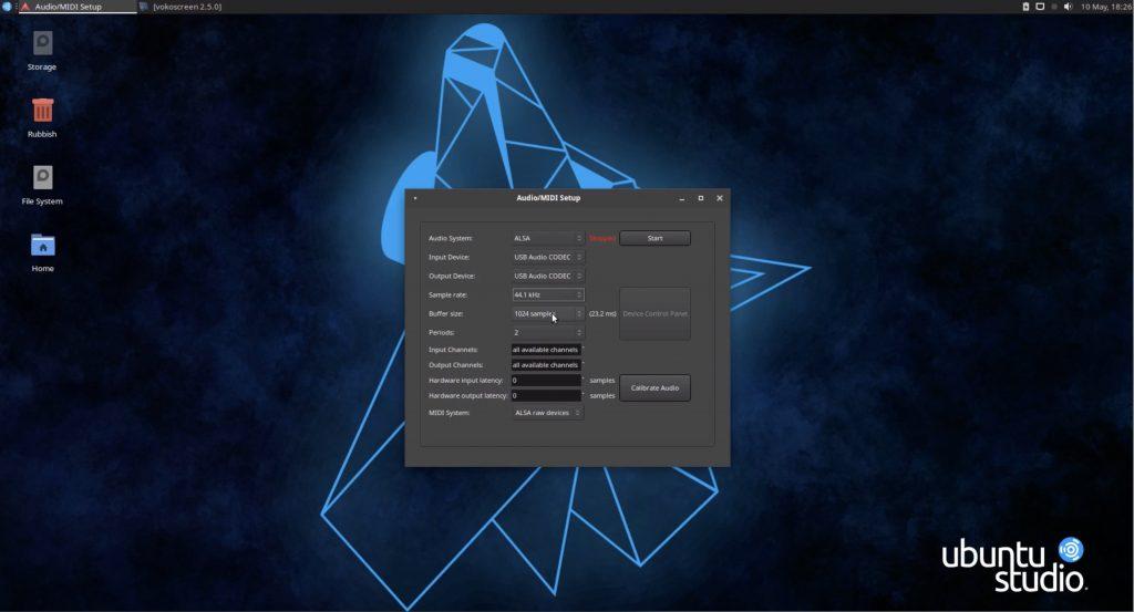 ALSA Audio Setup Ardour5