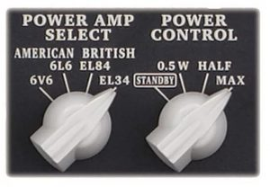 "These knobs toggle the power output and the ""Tube Logic"" tones"
